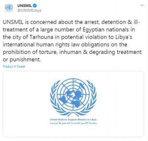Tweet Unsmil su torture egiziani in Libia