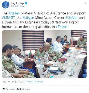 Tweet Ambasciata d'Italia a Tripoli