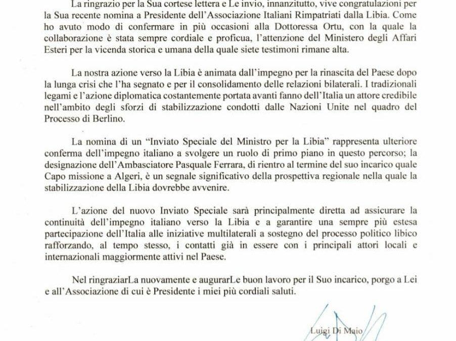 Il ministro degli Esteri Di Maio scrive agli italiani di Libia