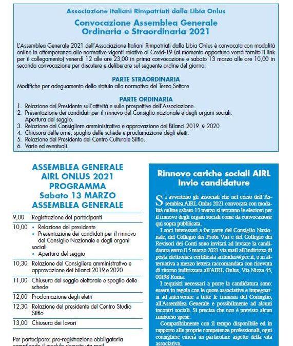 ASSEMBLEA GENERALE AIRL ONLUS 2021 – PARTECIPAZIONE E RINNOVO CARICHE SOCIALI